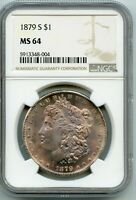 1879 S MORGAN SILVER DOLLAR MINT STATE 64 BY NGC