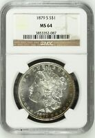 1879-S $1 MORGAN SILVER DOLLAR NGC MINT STATE 64