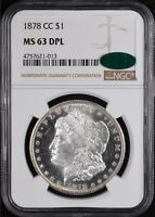 1878-CC MORGAN SILVER DOLLAR NGC MINT STATE 63 DEEP PROOF LIKE CAC STICKER  GORGEOUS