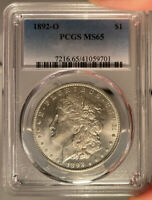 1892-O $1 PCGS MINT STATE 65 MORGAN SILVER DOLLAR