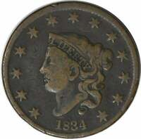 1834 LARGE CENT VG UNCERTIFIED