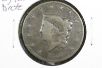 1828 CORONET HEAD LARGE CENT, LARGE NARROW DATE, GOOD