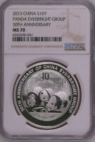 NGC MS70 2013 CHINA 30TH ANNIVERSARY EVERBRIGHT GROUP 1OZ SILVER WITH COA