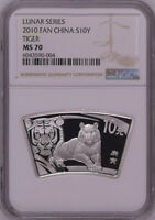 NGC MS70 2010 CHINA LUNAR SERIES TIGER FAN SHAPE 1OZ SILVER WITH COA