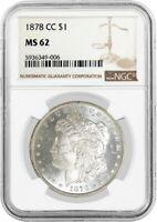 1878 CC $1 MORGAN SILVER DOLLAR NGC MINT STATE 62 UNCIRCULATED KEY DATE COIN