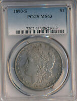 1890-S MORGAN SILVER DOLLAR PCGS CERTIFIED MINT STATE 63 SHIPS FREE