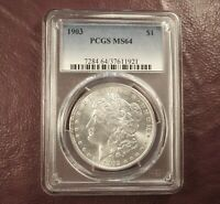 1903 MORGAN DOLLAR MINT STATE 64 PCGS   AT GRADE FLASHY WHITE CERT  SHIP FREE