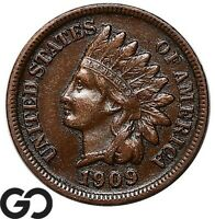 1909 S INDIAN HEAD CENT PENNY AVIDLY PURSUED CHOICE XF KEY D