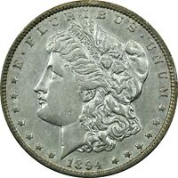 1894 MORGAN SILVER DOLLAR $1, ABOUT UNCIRCULATED AU. CLEANED