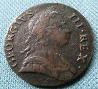 1773 KING GEORGE III BRITISH US COLONIAL HALFPENNY NEAT OLD COPPER COIN NONREGAL