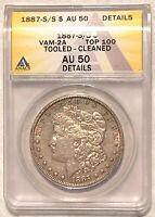 1887-S/S VAM-2A MORGAN SILVER DOLLAR GRADED BY ANACS AS AN AU-50 DETAILS