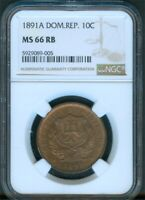 DOMINICAN REPUBLIC 10 CENTESIMOS 1891 NGC MS66 RB
