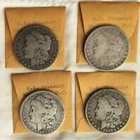 4 DIFFERENT MORGAN SILVER $ FROM US TREASURY CASH ROOM 1879P 1880P 1880S 1886O