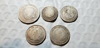 EARLY COLOMBIA SILVER COINS 1836 1838 1839 1852 1 REAL 1853