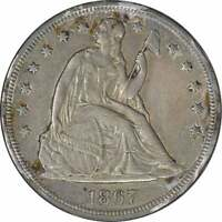 1867 LIBERTY SEATED SILVER DOLLAR AU UNCERTIFIED
