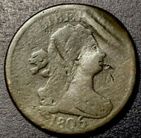 1806 DRAPED BUST HALF CENT C-4 VARIETY LARGE 6 WITH STEMS ROTATED REVERSE ERROR