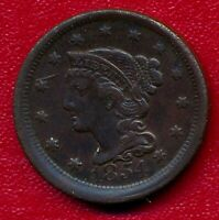 1854 BRAIDED HAIR LARGE COPPER CENT LY CIRCULATED SHIPS FREE