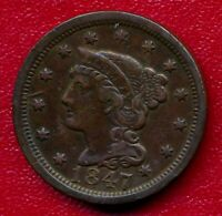 1847 BRAIDED HAIR LARGE COPPER CENT LY CIRCULATED SHIPS FREE