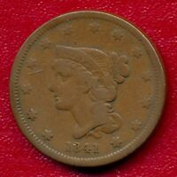 1841 BRAIDED HAIR LARGE COPPER CENT CHOICE FINE SHIPS FREE