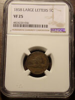 1858 LARGE LETTERS LL FLYING EAGLE CENT NGC VF 25 .LOT 7166