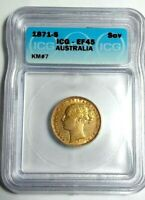 AUSTRALIAN 1871 S SOVEREIGN, GOLD, CERTIFIED ICG, EF 45,KEY DATE-