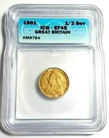 1901 GREAT BRITAIN, VICTORIA, 1/2 SOVEREIGN GOLD COIN, ICG CERTIFIED EF45