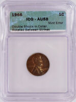 ICG 1C 1966 LINCOLN CENT ROTATED DOUBLE-STRIKE IN COLLAR AU58
