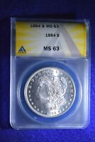 1884 MORGAN DOLLAR ANACS CERTIFIED MS--63 BU WHITE DOLLAR   14