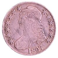 1827 CAPPED BUST SILVER HALF DOLLAR LETTERED EDGE.  UNITED S