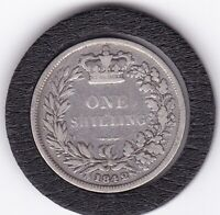 EARLY  QUEEN   VICTORIA   1842  SHILLING   1/    SILVER   92