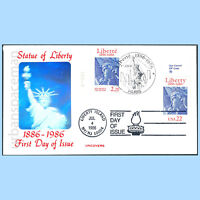 FDC 2224 US 2014 FRANCE STATUE OF LIBERTY JOINT ISSUE FDOI TABS ZIP S HOLOGRAM