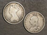 GREAT BRITAIN 1856 & 1889 1 FLORIN SILVER   LOT OF 2 COINS