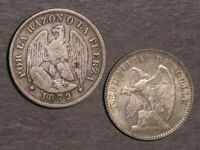 CHILE 1872  & 1913 20 CENTAVOS  SILVER   LOT OF 2 COINS