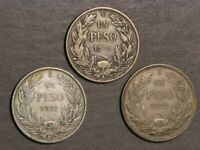 CHILE 1915 & 1917 & 1922 1 PESO SILVER    LOT OF 3 COINS