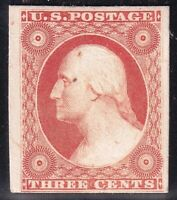 US STAMP 41P4  1857  3C  PLATE PROOF ON CARD STAMP