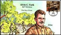 SCOTT 3395 33 CENTS ALVIN YORK COLLINS HAND PAINTED FDC