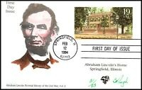 SCOTT UX174 19 CENTS LINCOLN HOME PUGH HAND PAINTED FDC 31 O