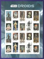 STAR WARS DROIDS IMPERF PANE OF 20  NO DIE CUTS MNH VF XF PO