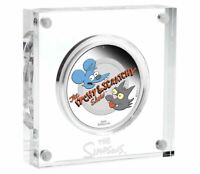 2012 THE SIMPSONS ITCHY AND SCRATCHY $1 1OZ COLOURED SILVER