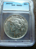 1923-D PEACE SILVER DOLLAR ICG MINT STATE 60