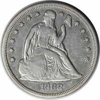1868 LIBERTY SEATED SILVER DOLLAR VF UNCERTIFIED