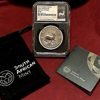 2017 SOUTH AFRICA 1OZ SILVER KRUGERRAND NGC SATIN FINISH 69 BLAXK RETRO FIRST DAY OF ISSUE