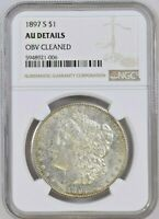 1897-S MORGAN SILVER DOLLAR NGC GRADED AU DETAILS OBV CLEANED - LOW MINTAGE 5.8M