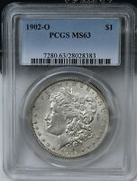 1902-O MORGAN SILVER DOLLAR PCGS MINT STATE 63. EXCEPTIONAL BRIGHT SHIPS FREE