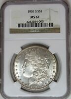 1901 S MORGAN SILVER DOLLAR MINT STATE 61 NGC