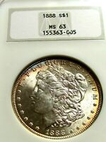 1888 MORGAN SILVER DOLLAR, NGC MINT STATE 63  LOOKS MINT STATE 64