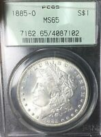 1885-O MORGAN SILVER DOLLAR PCGS MINT STATE 65 OLD GREEN LABEL WITH BEAUTIFUL DOLLAR