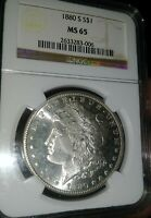 1880 S MORGAN SILVER DOLLAR NGC MINT STATE 65 BRIGHT WHITE CLEAN