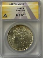 1887 P MORGAN SILVER DOLLAR VAM-10A DOUBLED 18 DISPLACED FIELD BREAK ANACS MINT STATE 63
