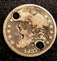 1837 CAPPED BUST SILVER HALF DIME LARGE 5C SEMI KEY DATE TYPE COIN